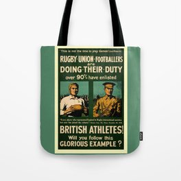 British rugby, football players call for duty Tote Bag
