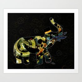 Steampunk Elephant, Scanography Art Art Print