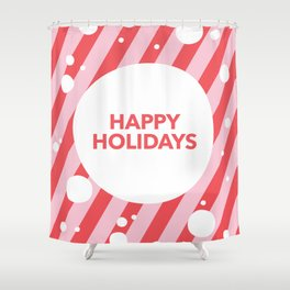 Happy Holidays Candy Cane Snow Stripes Shower Curtain