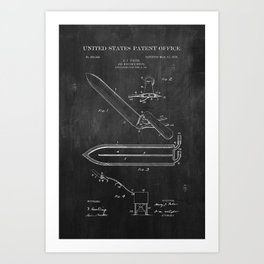 Beekeeper Knife Patent with Bees Art Print