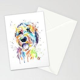 Goldendoodle, Golden Doodle Watercolor Pet Portrait Painting Stationery Cards
