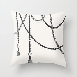 Beaded Garland With Tassels Throw Pillow