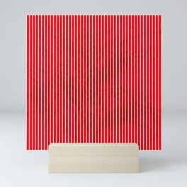 Red grunge stripes on white background Mini Art Print