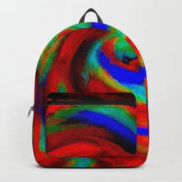 Red Blue Green Fireball Sky Explosion Backpack