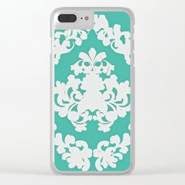 Paisley Victorian #3 Green and White Pattern Clear iPhone Case