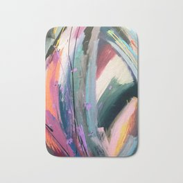Eye of the Beholder [4]: a colorful, vibrant abstract in purples, blues, orange, pink, and gold Bath Mat