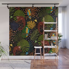 Jungle Pattern with Monkeys, Macaws and colorful Dart Frogs Wall Mural