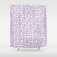 macaroon Shower Curtains featuring French Pattern - Violet Macaron - Purple Macaroon by French Macaron Art Print and Decor Store