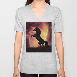 Rearing black horse at sunset Unisex V-Neck