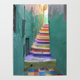Colorful steps in Moulay Idriss, Morocco Poster