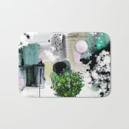 Peinture digitale maison arbres chat oiseau bulles Bath Mat