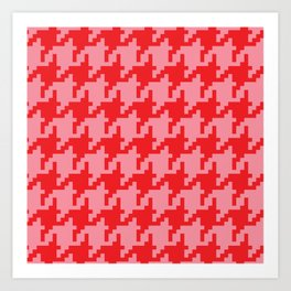 Houndstooth - Pink & Red Art Print