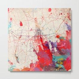 New Bedford map Massachusetts painting Metal Print