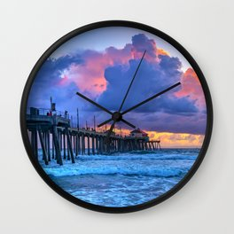 Glowing Clouds at Sunset Wall Clock