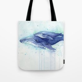 Humpback Whale Watercolor Mom and Baby Painting Whales Sea Creatures Tote Bag