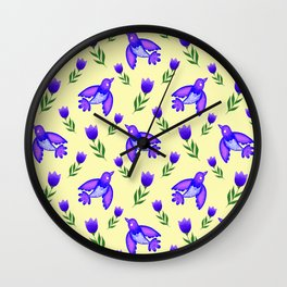 Pretty cute little wild blue birds, red blooming garden tulips, nature flowers bright sunny yellow pattern. Hello spring. Gifts for tulip lovers. Botanical floral artistic design. Wall Clock