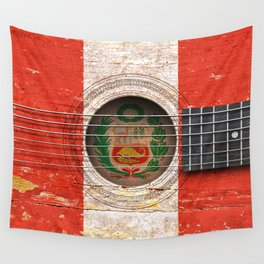 Old Vintage Acoustic Guitar with Peruvian Flag Wall Tapestry