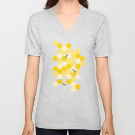 Honey Bee Pattern Unisex V-Neck