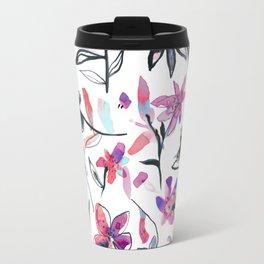 Ink flowers pattern - Viola Travel Mug