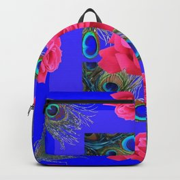 CONTEMPORARY PINK ROSES & PEACOCK FEATHERS BLUE ART Backpack