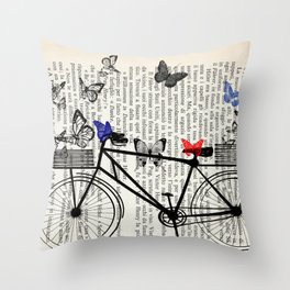 Bicycle and butterflies Throw Pillow