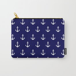 Maritime Nautical Blue and White Anchor Pattern Carry-All Pouch
