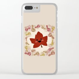 Happy Autumn leaf and the crazy chipmunk hurricane. Clear iPhone Case