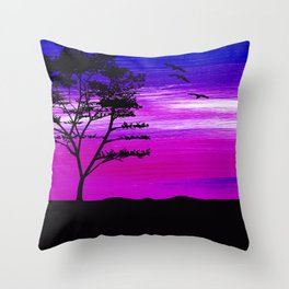 Black tree with birds silhouette Throw Pillow