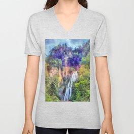 Mountain waterfall Unisex V-Neck