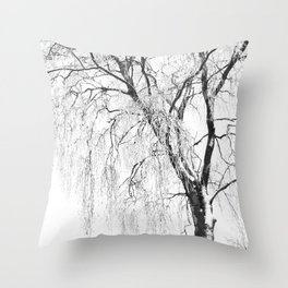 White snow tree Throw Pillow