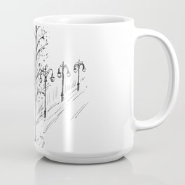 drawing pencil. the city central street, a streetlight on a front background. Coffee Mug