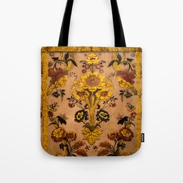 Golden Floral Tapestry Tote Bag