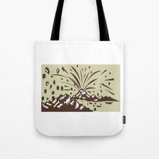 Volcano Eruption Island Woodcut Tote Bag