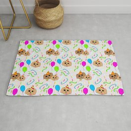 Crazy Kitsch Puppy Birthday Party Pattern Rug