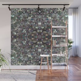 Sparkly colourful silver mosaic mandala Wall Mural