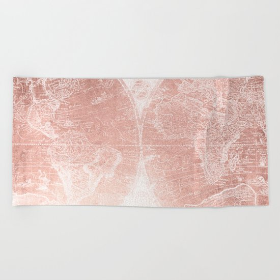 Antique World Map White Rose Gold Beach Towel