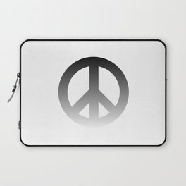 Black Fade CND Peace Symbol on White Laptop Sleeve