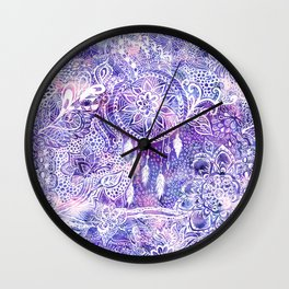 Boho doodles dreamcatcher floral pink purple watercolor Wall Clock