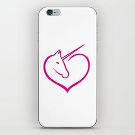 I love unicorns Pink Unicorn inside a heart iPhone Skin
