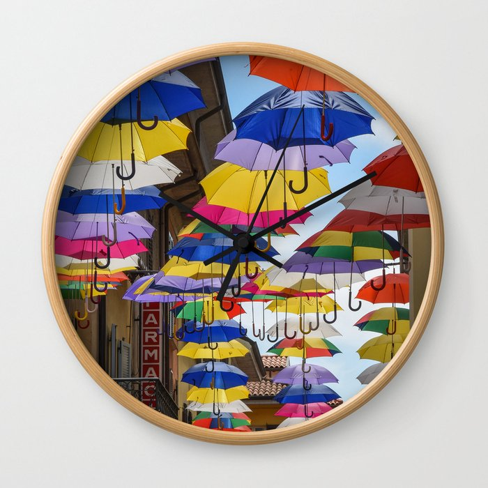 Colorful umbrella street in Italy Wall Clock