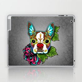 Boston Terrier in Red - Day of the Dead Sugar Skull Dog Laptop & iPad Skin