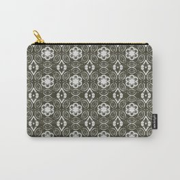 Pewter Gray and White Floral Geometric Pattern Carry-All Pouch