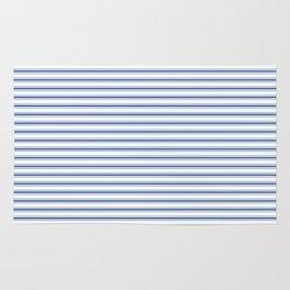 Mattress Ticking Narrow Horizontal Stripe in Dark Blue and White Rug