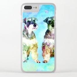 Miniature Schnauzer dogs Watercolor Digital Art Clear iPhone Case