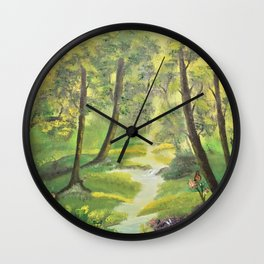 Happy forest with animals Wall Clock