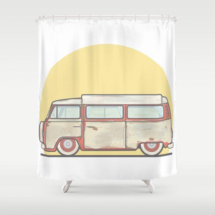 Camper Vector Illustration Shower Curtain