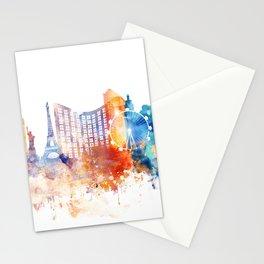 Las Vegas Watercolor Skyline Stationery Cards