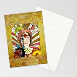 La jeune fille au paon (the peacock maiden) Stationery Cards