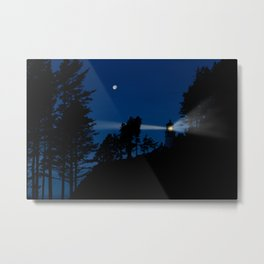 Moon over Heceta Head Light. Metal Print