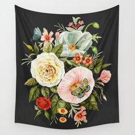 Wildflower and Butterflies Bouquet on Charcoal Black Wall Tapestry